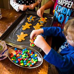 kids baking halloween cookies siblings fun family tray m&m buddy fruits UGC content