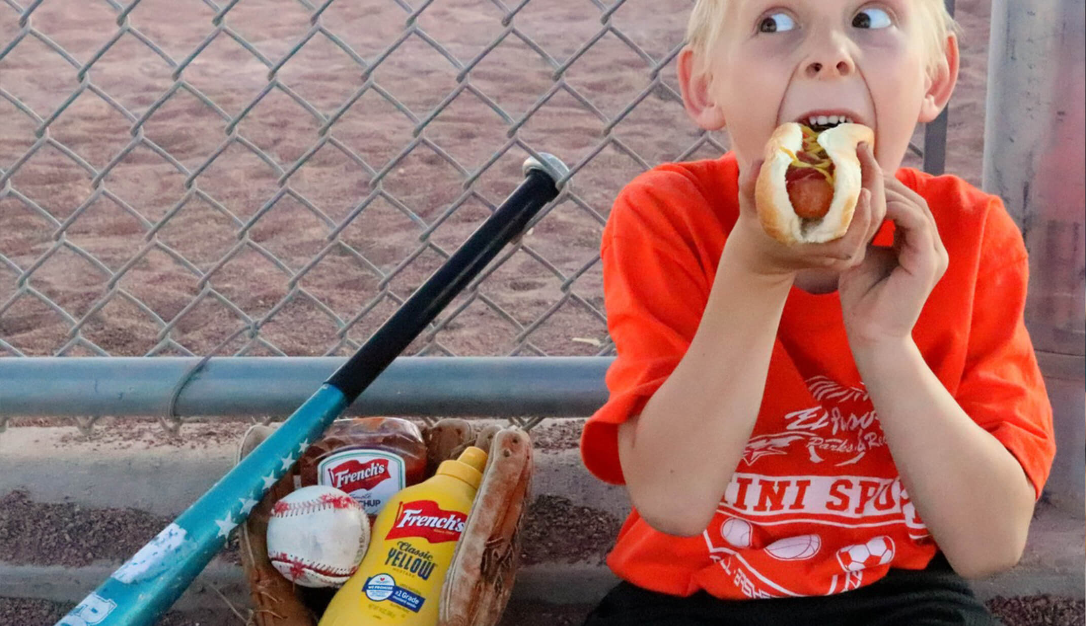 funny kid eating hot-dog baseball bat funny pic UGC content